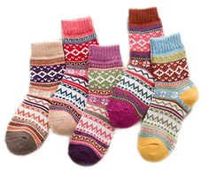 USOLDFLY Women's Printed Thick Winter Casual Wool Crew Socks 5-Pack - Brought to you by Avarsha.com