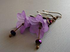 Purple Dangle Earrings. Purple Flower by BohoVintageJewellery
