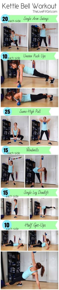 FAT BURNING KETTLEBELL WORKOUT -  This kettlebell workout will burn a ton of calories and will target all of your major muscles, burn fat, and get you toned on no time. Complete this workout as a circuit moving form one exercise to the next with no rest. Repeat this circuit 3 times through. - If you like this pin, repin it and follow our boards :-)  #FastSimpleFitness - www.facebook.com/FastSimpleFitness