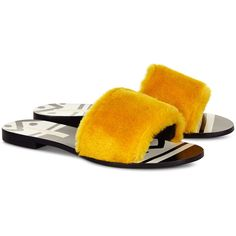 Avec Moderation Yellow Fur Tribale Slides (870 SAR) ❤ liked on Polyvore featuring shoes, flat sandals, flat mules shoes, t-strap flats, flat shoes, slip-on shoes and mule shoes
