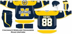 Hockey uniform concept for my alma mater the Moeller Crusaders in Cincinnati, OH. I chose the #88 for my graduation year of 1988.