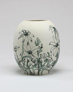 Sarah O'Sullivan :: Flannel Flowers - porcelain with hand drawn underglaze pencil 2012 :: http://www.sarahosullivan.com.au