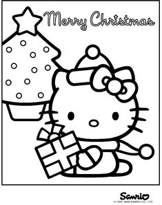 Free Printable Christmas Hello Kitty Coloring Pages