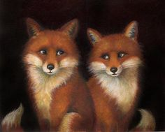 Portrait de Fox Estampe - Art Fox - Fox Peinture - Portrait de l'Animal Print - Fox Couple - renards