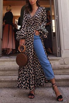 Fashion Long Sleeves Leopard Print T-Shirt Maxi Dress maxi dress summer,maxi dress outfit,maxi dress casual, Mode Outfits, Fashion Outfits, Fashion Tips, Fashion Ideas, Fashion Clothes, Fashion Trends, Fashion Websites, Kimono Fashion, Fashion Online