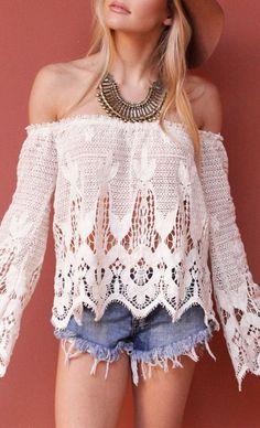 #Boho #crochet #offshoulder #top