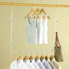 Here's a great way to boost your storage space with closet organization ideas - This extendable closet doubler hanger is such a good idea! I am going to need a couple of these, . Closet Rod, Closet Storage, Dorm Closet, Toy Storage, Organiser Son Dressing, Hanging Closet, Hanging Bar, Hanging Organizer, Closet System
