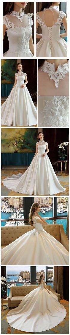 CHIC HIGH NECK BALL GOWN WEDDING DRESS APPLIQUE CHEAP WEDDING DRESSES AM103