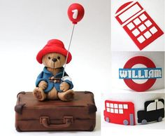 """DETAILS: one fondant bear figure (approximate 3""""-3.5"""" in height) one fondant balloon on a wire one fondant suitcase (approximately 4.5""""-5"""" in length) 2 car silh"""