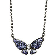 Sterling Silver & Black Rhodium Blue and White Sapphire Butterfly Necklace from Borsheims.