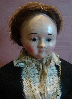 Museum Quality Original French-type Paper Mache Shoulder Head Doll