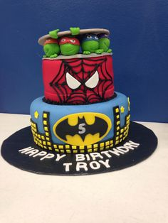 Ninja Turtle Spider Man & Batman Cake.