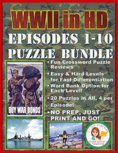 Crossword Puzzles for all 10 episodes of WWII in HD! 40 puzzles in all means lots of differentiation right at your fingertips. You'll get basic Battle Of Saipan, Teaching Materials, Teaching Ideas, History Channel, Teaching History, World History, Critical Thinking, Crossword Puzzles, Social Studies