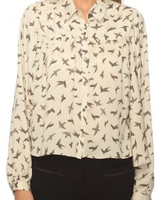 Blurred Birds Crop Button Up | FOREVER21 - 2086807717