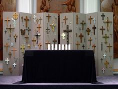 Lent - Good Friday Chancel Installation crosses from congregation members