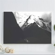 "black and white landscape canvas gallery wrap / minimal nature mountain decor canvas art print /  large wall art / ""black + white Cascadia"""
