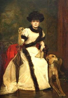 Lady and a Greyhound - ca 1895  by Václav Brožík  (Exhibition of National Gallery in Convent of St. George, Prague)