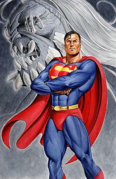 Superman with Doomsday in the background Superman Lois, Superman Man Of Steel, Superman Artwork, Superman Stuff, Mode Masculine, Big Hero 6, Marvel Dc, Marvel Comics, Hero Arts