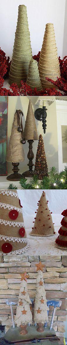 Vánoční stromky v pytloviny: nápady, jak vytvořit