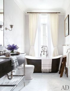 Brooke Shields's Manhattan bathroom designed by David Flint Wood. Photographed by William Waldron for Architectural Digest.