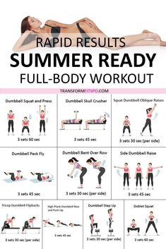 #summerbody #getslim #getinshape #fullbodyworkout #femalefitness #womensworkouts If you are overweight and want the perfect body in time for the Summer then look no further. Just do this routine at least 3 times a week and you'll see a HUGE difference! Don't forget to repin if it helped you :)...