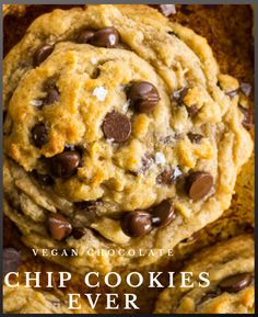 Thick and chewy vegan chocolate chip cookies. These are wonderful #cookies #vegan #delicious Vegan Chocolate Chip Cookies, Cookies Vegan, Fun Cookies, Best Vegan Recipes, Brown Sugar, Cookie Recipes, Make It Simple, Coconut, Desserts