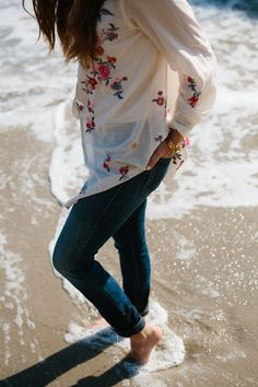 Embroidery shirt and Mother Denim jeans