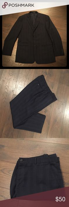 Perry Ellis navy blue full suit- jacket and pants! Perry Ellis Navy blue suit in a faint window pane plaid. Two button closure and slit pockets on jacket. Flat front pants. Excellent condition! Perry Ellis Suits & Blazers Suits