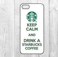 coffee - iphone 5 case iphone 5s case iphone 5c case Hard plastic Soft rubber iphone 5 5s 5c coveri keep calm and drink a starbucks coffee...