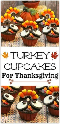 These adorable Turkey Cupcakes are the perfect dessert recipe for that Thanksgiving party at school! Cupcakes are my favorite dessert, and this recipe is pretty easy. Get the kids to help! (recipe for donuts desserts) Thanksgiving Cupcakes, Turkey Cupcakes, Thanksgiving Snacks, Thanksgiving Turkey, Thanksgiving Decorations, Cupcakes Fall, Thanksgiving Recipes For Kids To Make, Happy Thanksgiving, Thanksgiving Birthday
