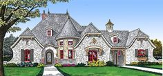 Grand Turret - 48326FM | 1st Floor Master Suite, Butler Walk-in Pantry, CAD Available, Corner Lot, Courtyard, Den-Office-Library-Study, European, French Country, Media-Game-Home Theater, PDF | Architectural Designs