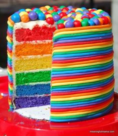 Rainbow Birthday Cake Tutorial #recipe