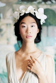 Pulled-back 'do with flower crown