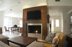 Walnut fireplace surround.