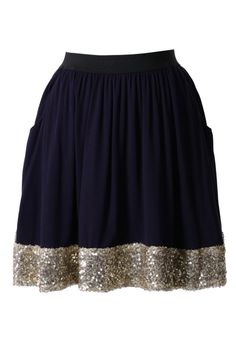 Seqins Navy Blue Skater Skirt pinned with Bazaart