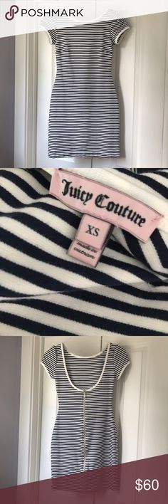 Juicy Couture Fitted navy and white Stripped Dress This is a Juicy Couture Stripped Dress in an XS. It is in like new condition! Thick, and well made material with stretch to it. Juicy Couture Dresses Mini