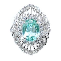 PERFECT 4.25 CT GREEN TOURMALINE & SAPPHIRE OVAL STERLING SILVER 925 RING S 6.25