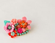Neon Flowers Brooch - Boho Chic Bright Pink Fuchsia Brooch, Vintage Gypsy Style Hot Pink, Orange and Turquoise Blue Rhinestone Jewelry