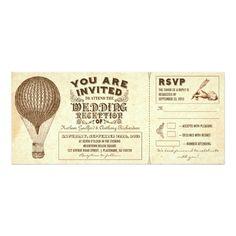 Vintage Wedding Reception air balloon vintage typography wedding reception card