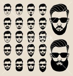 Hipster faces with beard user avatar icon set vector on VectorStock