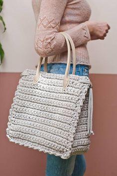 Bolso grande con asas de cuero / Crochet bolso verano / verano