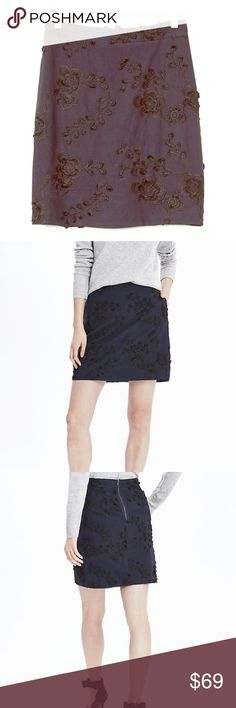 Banana Republic Floral Embroidered Skirt Banana Republic Floral Embroidered Mini Skirt. Color is navy blue. Size 14. 100% cotton. New with tags. Bundle and save! Reasonable offers welcomed. Banana Republic Skirts Mini