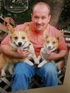 The Daily Corgi Real Men Love #Corgis! Jeff with Cady and Ella.