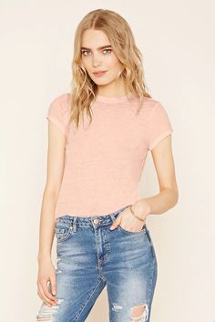 Forever 21 Contemporary - A burnout knit tee with cuffed short sleeves and a round neckline. #f21contemporary