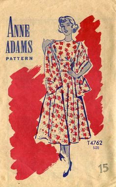 1940s Party Dress Frock & Stole Anne Adams T4762  by PengyPatterns, $9.00