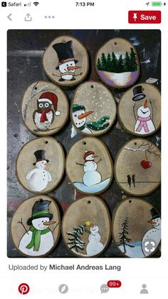 Do it with Calvin and Hobbes Comucs - Dekoration Basteln - Crafts Wood Ornaments, Diy Christmas Ornaments, Homemade Christmas, Christmas Projects, Holiday Crafts, Wooden Christmas Tree Decorations, Ornaments Ideas, Christmas Plates, Snowman Ornaments