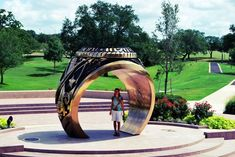 """Everything's Bigger In Texas. The epitome of """"big"""" , Texas A & M. In front of the Former Student's Building stands a gigantic rendition of the famous Aggie Ring — a testament to the big culture, ritual, and community that is found at A & M."""