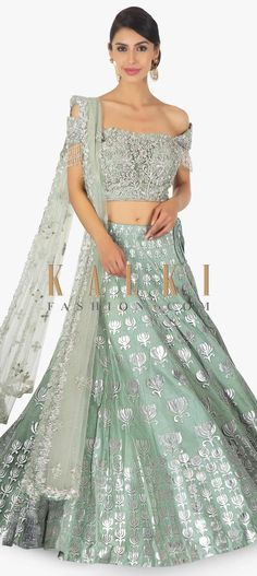 Adorn in this lehenga and walk like a diva that all will look up to. Featuring Fern green satin net lehenga with patch work in lotus motif. Green Lehenga, Net Lehenga, Bridal Lehenga Choli, Indian Skirt, Indian Dresses, Indian Outfits, Indian Clothes, Ethnic Fashion, Indian Fashion