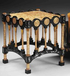 CARLO BUGATTI (1865-1940)  (tabouret) TABLE, circa 1900, painted beech, marble, copper and pewter, 17½ in. (45 cm.) high; 16 in. (40.5 cm.) wide   |  SOLD $3,677 Christie's London, April 20, 2011