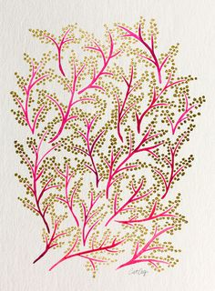 Pink & Gold Branches Art Print